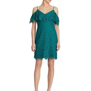 Lauren Ralph Lauren Ruffled Lace Dress Emerald
